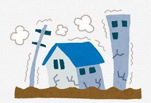 地震にあう建物